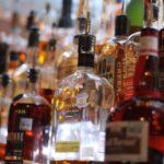 bourbon and liquors on a shelf